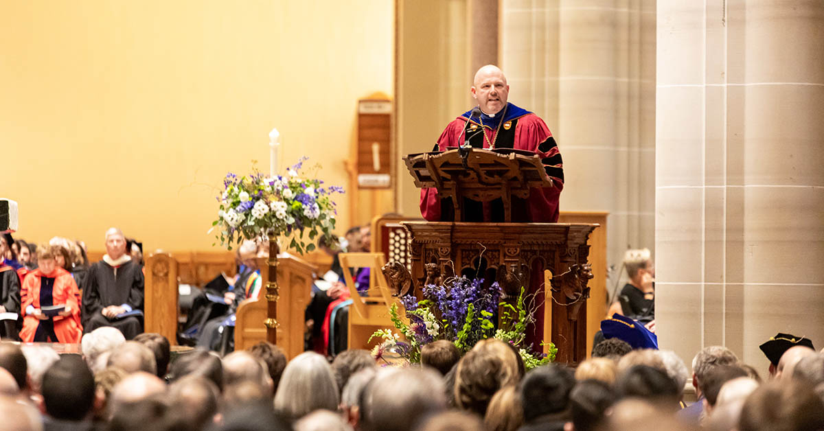 Father Paul taylor speaks at inauguration